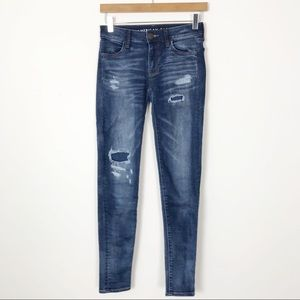 AMERICAN EAGLE Distressed Jegging Skinny Jeans 00
